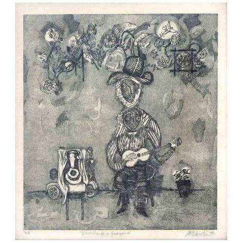 GERARDO CANTÚ, El cantante de peregrinos, Firmado y fechado 78 Grabado P.A., 44 x 39 cm | GERARDO CANTÚ, El cantante de peregrinos, Signed and dated 7