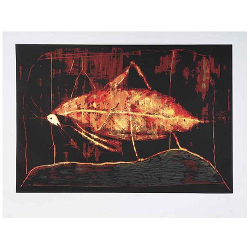 "SERGIO HERNÁNDEZ, La mantis, 2015, Firmada, Xilografía 22 / 70, 81 x 119 cm | SERGIO HERNÁNDEZ, La mantis, 2015, Signed, Woodcut 22 / 70, 31.8 x 46.8"""