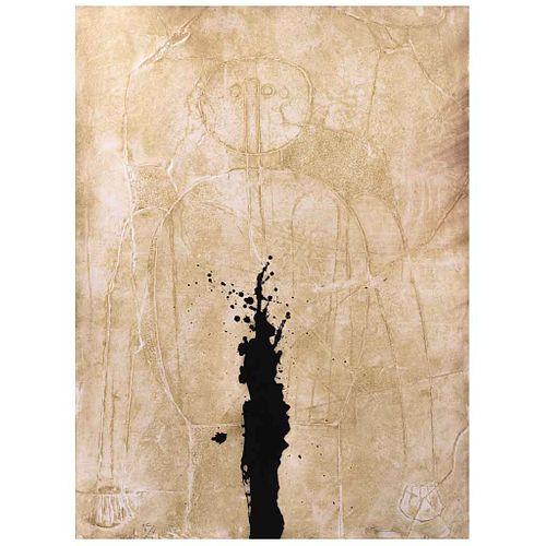 RUFINO TAMAYO, Figura sobre estuco, 1976, Firmada, Mixografía H C / II / V, 76 | RUFINO TAMAYO, Figura sobre estuco, 1976, Signed, Myxography H C / II
