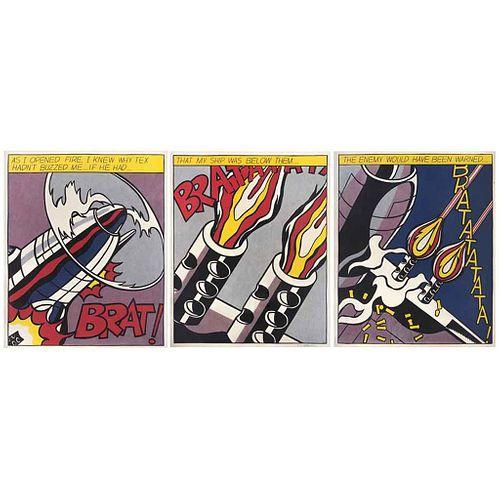 ROY LICHTENSTEIN, Open as fire, 1966, Firmadas, Serigrafías s/n, 61 x 49, Con sello, piezas: 3 | ROY LICHTENSTEIN, Open as fire, 1966, Signed, Serigra