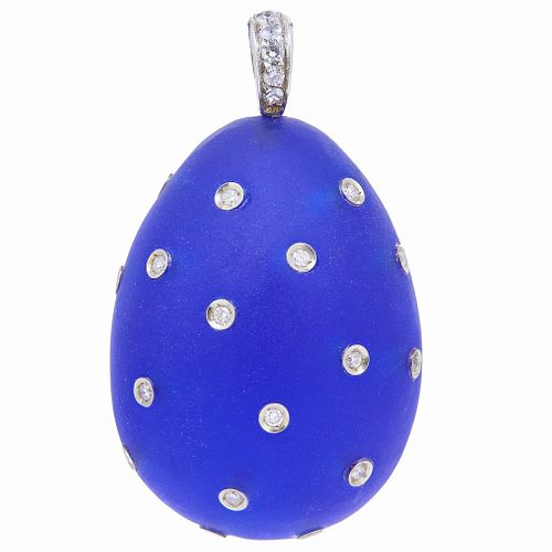 FROSTED BLUE GLASS AND DIAMAOND EGG PENDANT