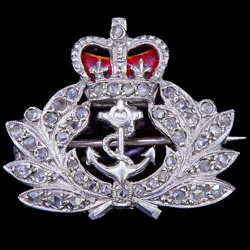 ROYAL NAVY DIAMOND AND ENAMEL BROOCH