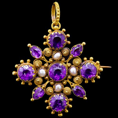 ANTIQUE AMETHYST AND PEARL PENDANT/BROOCH