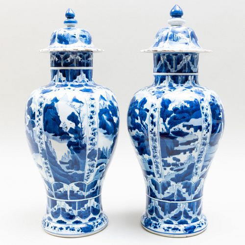 Pair of Chinese Blue and White Porcelain Baluster Vases and Covers