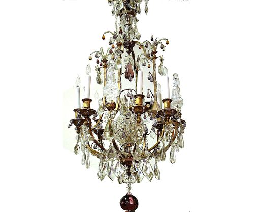 EARLY 20th C. BAGUES CRYSTAL & BRASS CHANDELIER
