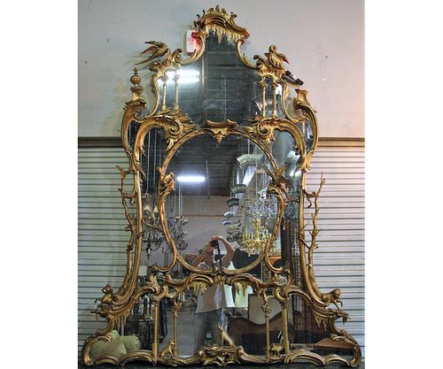 CHIPPENDALE STYLE GILT CARVED FRAMED MIRROR