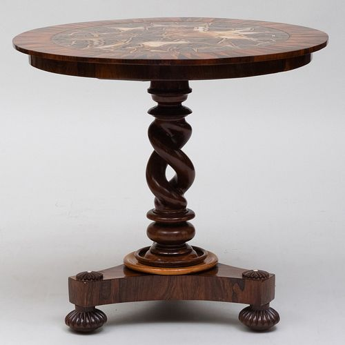 Rare Victorian Rosewood, Specimen Wood and Agate Inset Center Table