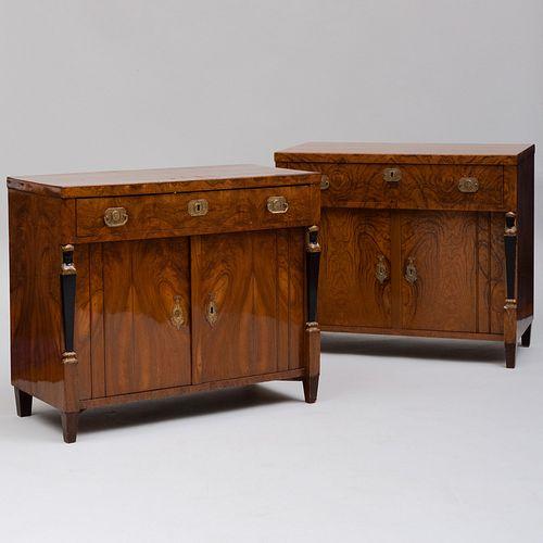 Two Biedermeier Gilt-Metal-Mounted Hungarian Ash, Ebonized and Parcel-Gilt Side Cabinets