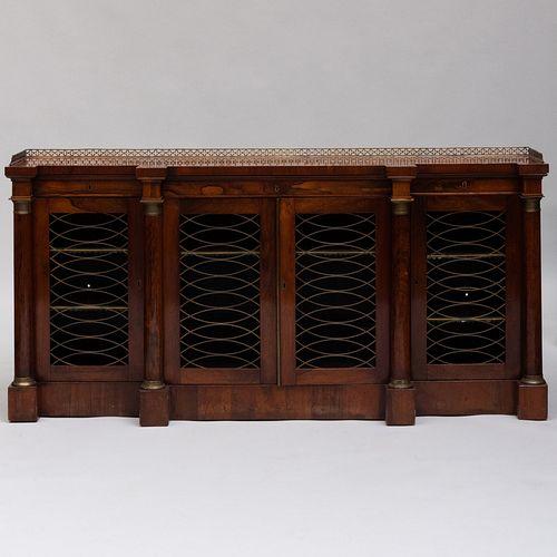 Regency Brass-Mounted Rosewood Breakfront Side Cabinet