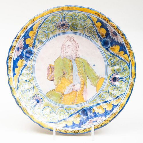 Nuremberg Georg Friedrich Grebner Polychromed Delft Portrait Dish