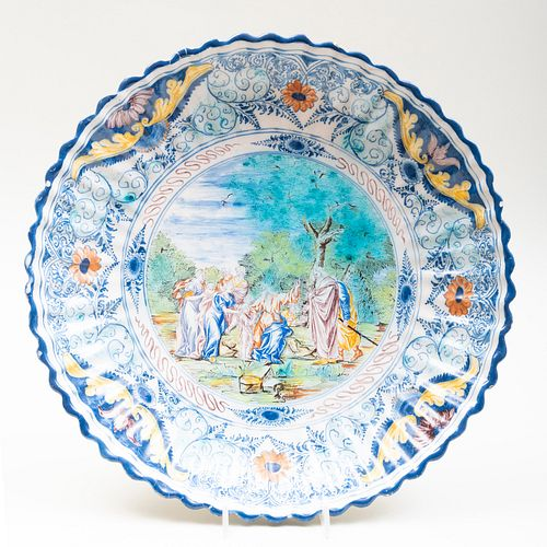 Nuremberg Polychromed Delft Charger with Classical Scene