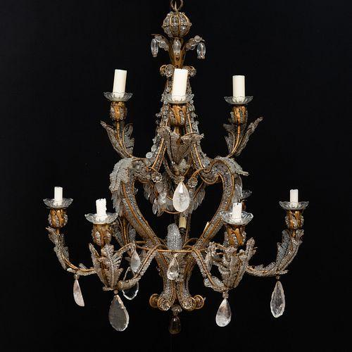 Fine Maison Bagues Glass and Rock-Crystal Nine-Light Chandelier