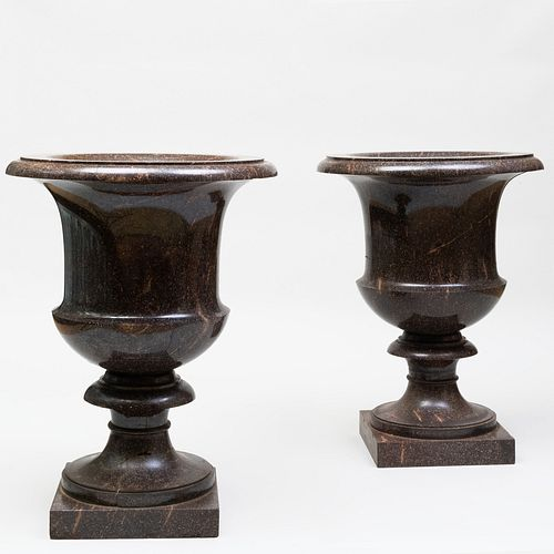 Pair of Massive Swedish Neoclassical Porphyry Urns, the Model Designed by Louis Masreliez