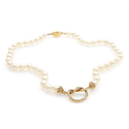 Cultured Pearl, Diamond, 18k Yellow Gold Necklace