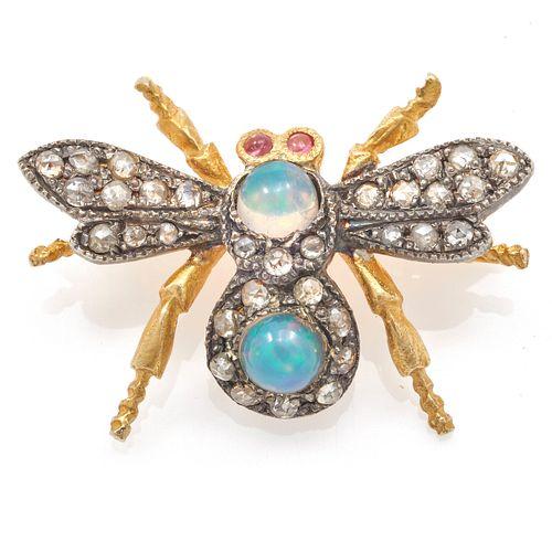 Opal, Diamond, 14k, Vermeil Fly Pin Pendant