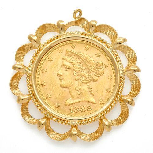 1882 Liberty Head $5 Coin, 14k Pendant