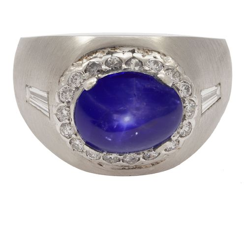 Star Sapphire, Diamond, Platinum Ring