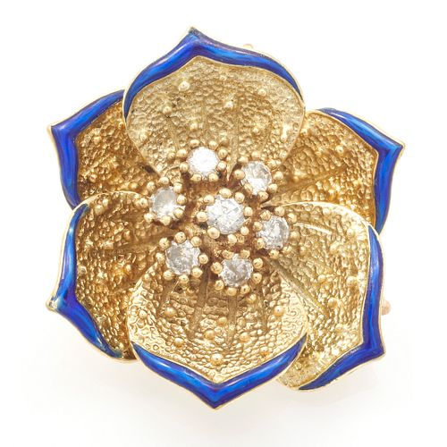 Diamond, Enamel, 14k Flower Pendant