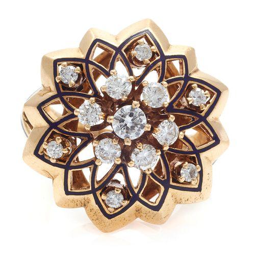 Diamond, Enamel, 14k Yellow Gold Ring