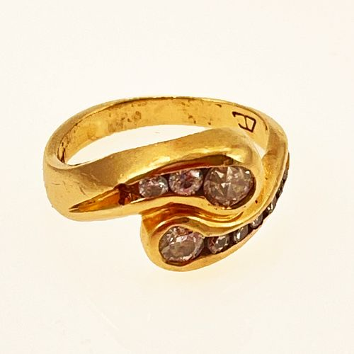 Diamond, 14k Yellow Gold Bypass Ring