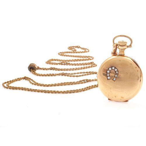 Diamond, 14k Rose Gold Pocket Watch with GF Chain