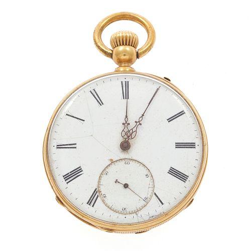 18k Yellow Gold Open Face Pocket Watch