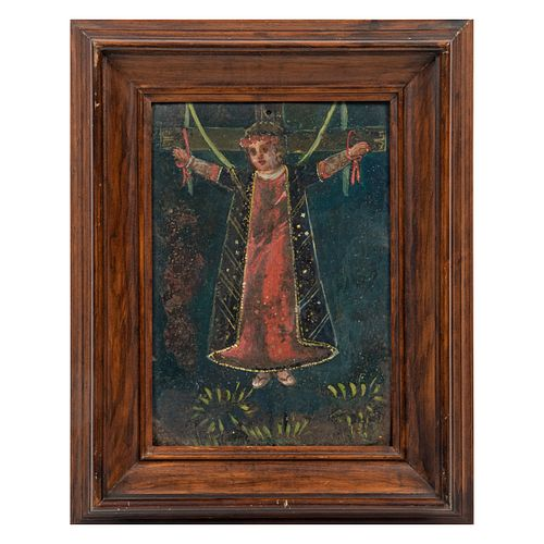 ANÓNIMO. Crucifixión. Óleo sobre lámina. Enmarcada. 30 x 21 cm.
