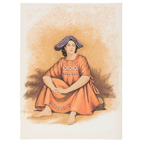 VÍCTOR GUTIÉRREZ. Flor mestiza. Firmada. Serigrafía 73 / 120. 55 x 67 cm. Con sello de agua.
