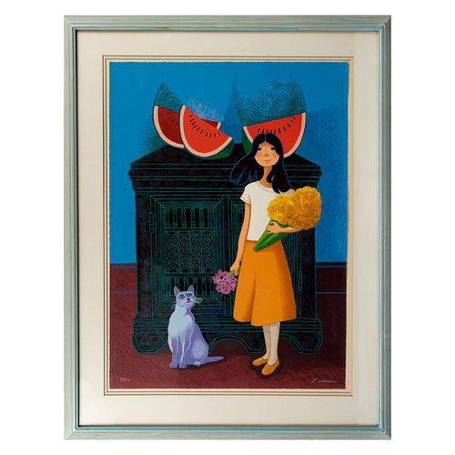TRINIDAD OSORIO. Niña con sandías y gato. Firmado. Serigrafía 30/100. 74 x 55 cm. Enmarcado.
