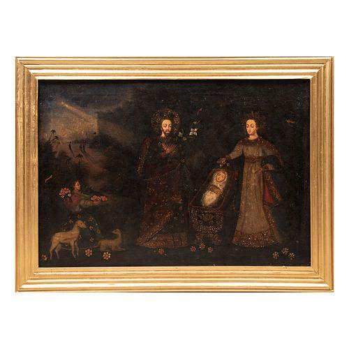 ANÓNIMO. Escuela cuzqueña. Descanso en la huída a Egipto. Óleo sobre tela. 84 x 129 cm. Enmarcado.