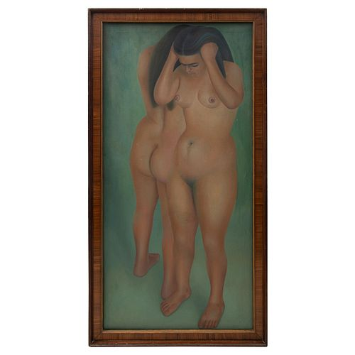 FRANCISCO DOSAMANTES. En el baño. Firmado. Óleo sobre tela. 150 x 70 cm. Enmarcado.