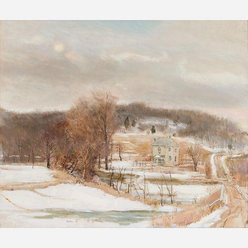 "Robert Sudlow ""Thawing Farm"" (1985) Oil on Canvas"