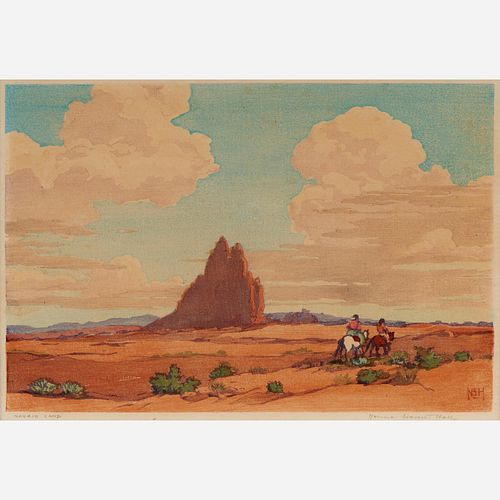 "Norma Bassett Hall ""Navajo Land"" Color Woodcut"