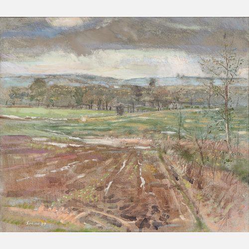 """Robert Sudlow """"Spring Rain"""" (1987) Oil on Canvas"""