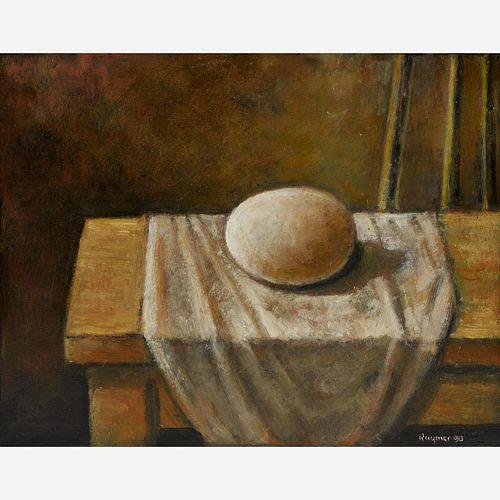 """Lester Raymer """"Egg"""" Oil on Panel"""