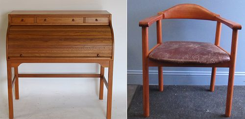 Danish Modern Roll Top Desk And Chair.