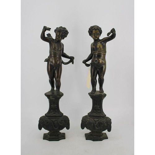 Pr Of Large Antique Cherubs Standing On Rams Heads