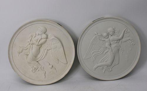 2 Large Royal Copenhagen Parian plaques .