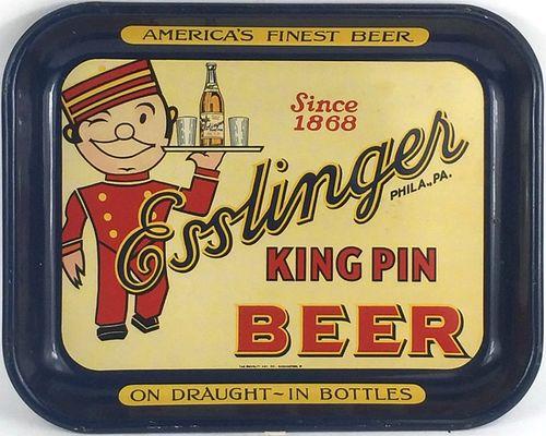 1935 Esslinger King Pin Beer 10 ½x 13½ inch Serving Tray