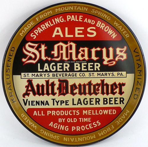 1934 St. Marys Lager/Ault Deutscher Beer 12 inch Serving Tray