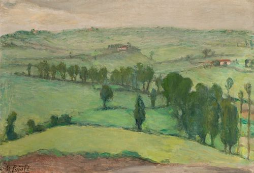"""NICANOR PIÑOLE (Gijón, 1878 - 1978). """"Landscape"""". Oil on canvas. With repainting and restorations. Signed in the lower left corner. Measurements:"""