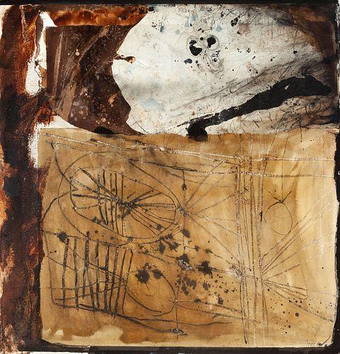 """ANTONI CLAVÉ I SANMARTÍ (Barcelona, 1913 - Saint Tropez, France, 2005).  """"Derrière le Bouclier"""", 1975.  Oil and collage on paper glued on táblex.  Sig"""
