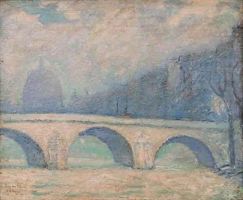 "DARIO DE REGOYOS Y VALDÉS (Ribadesella, Asturias, 1857 - Barcelona, 1913).  ""View of Pont Royale, 1881.  Oil on panel.  Enclosed certificate issued by"
