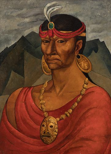 """OSWALDO GUAYASAMÍN (Quito, Ecuador, 1919 - Baltimore, USA, 1999).  """"Portrait of Atahualpa, 1945.  Oil on canvas.  Signed in the lower left corner.  At"""