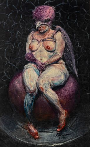"""ROBERTO FABELO (Camagüey, Cuba, 1950).  """"Bird Woman"""", 2012.  Oil on canvas.  Signed and dated in the lower right corner.  Attached certificate of auth"""