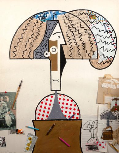 """MANOLO VALDÉS BLASCO (Valencia, 1942)  """"Composition"""", 1982-1983.  Collage on paper.  Signed in the lower left corner.  Measurements: 90 x 71,5 cm; 103"""