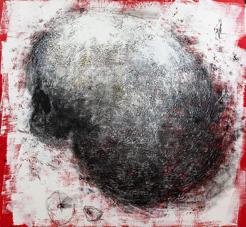 """MIQUEL BARCELÓ ARTIGUES (Felanitx, Mallorca, 1957).  """"Crâne à l'Âne"""", 2006.  Mixed media on canvas.  Signed, dated and titled on the back.  With label"""