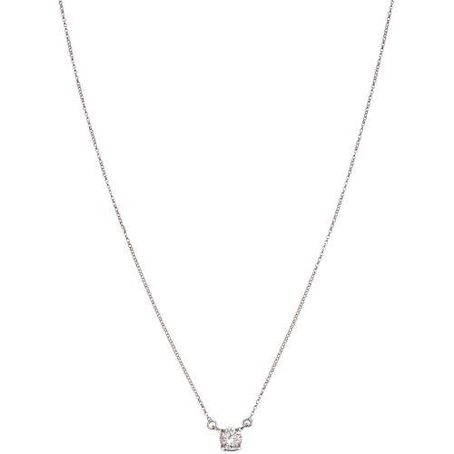 GARGANTILLA CON DIAMANTE EN ORO BLANCO DE 14K con un diamante corte brillante ~0.50 ct Claridad: I2-I3 Color: K-L | CHOKER WITH DIAMOND IN 14K WHITE G