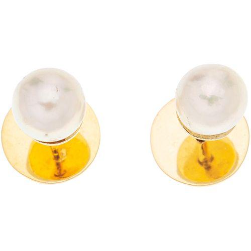PAR DE BROQUELES CON PERLAS CULTIVADAS EN ORO AMARILLO DE 14K con perlas color crema. Peso: 3.3 g | PAIR OF STUD EARRINGS WITH CULTURED PEARLS IN 14K