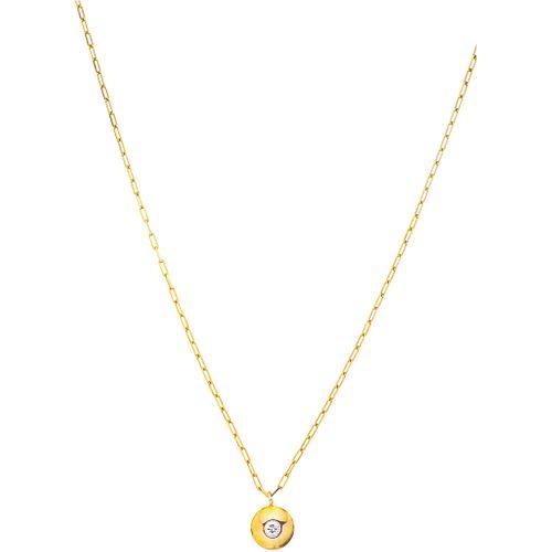 GARGANTILLA Y PENDIENTE CON DIAMANTE EN ORO AMARILLO DE 14K con un diamante corte brillante ~0.10 ct. Peso: 2.3 g | CHOKER AND PENDANT WITH DIAMOND IN
